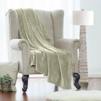 Clara Clark Queen Fleece Super Soft Warm Fuzzy Plush Couch Blanket, Extra Soft Brush Fabric, Lightweight Super Warm Bed Blanket (90-Inch-By-90-Inch) Sage Green