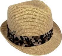 Funky Junque UPF50+ Womens Adjustable Multicolor Woven Pattern Short Brim Fedora Hat