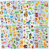 Horiechaly Animal Stickers for Kids,12 Different Sheets 295 Animals Including Dog,Lion,Tiger, Deer and More, Craft Stickers for Kids Party Supplies