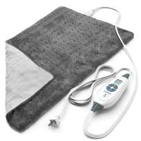 """Pure Enrichment PureRelief XL (12""""x24"""") Electric Heating Pad for Back Pain and Cramps - Ultra-Soft with 6 Temperature Settings, Auto Shut-Off, and Moist Heat (Charcoal Gray)"""