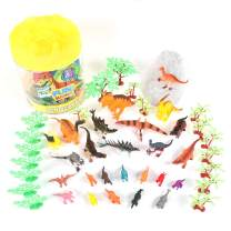Prehistoric Dinosaur Playset – 45 Assorted Plastic Animal Figures Pieces Toy Play Set For Kids, Boys and Girls with Storage Container