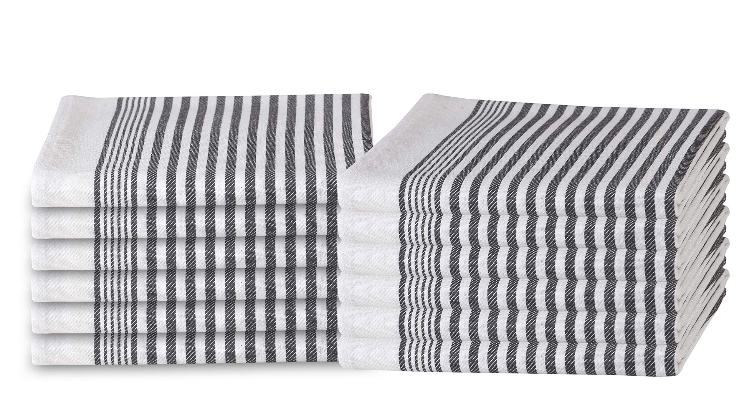 GLAMBURG 100% Cotton Kitchen Towels and Dish Cloth Sets, 12 Pack 18x28 Classic Stripe Dish Towels,Tea Towels,Bar Towels, Cleaning Towels, Highly Absorbent Dishcloth,Kitchen Towel Set - Charcoal Grey