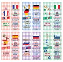 Creanoso European Countries Facts Educational Bookmarks (12-Pack) – Unique Learning Facts Rewards Cards – Awesome Educational Stocking Stuffers Gift Bookmarks for Students, Boys, Girls