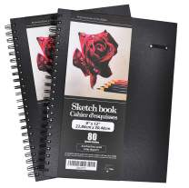 """LYTek Hardcover Sketch Books, 2 Pack 9""""x12""""Premium Sketchbook with Spiral Wire and Pencil Loop, Total 160 Sheets of Sketch and Drawing Pads, Acid Free Paper Pad"""