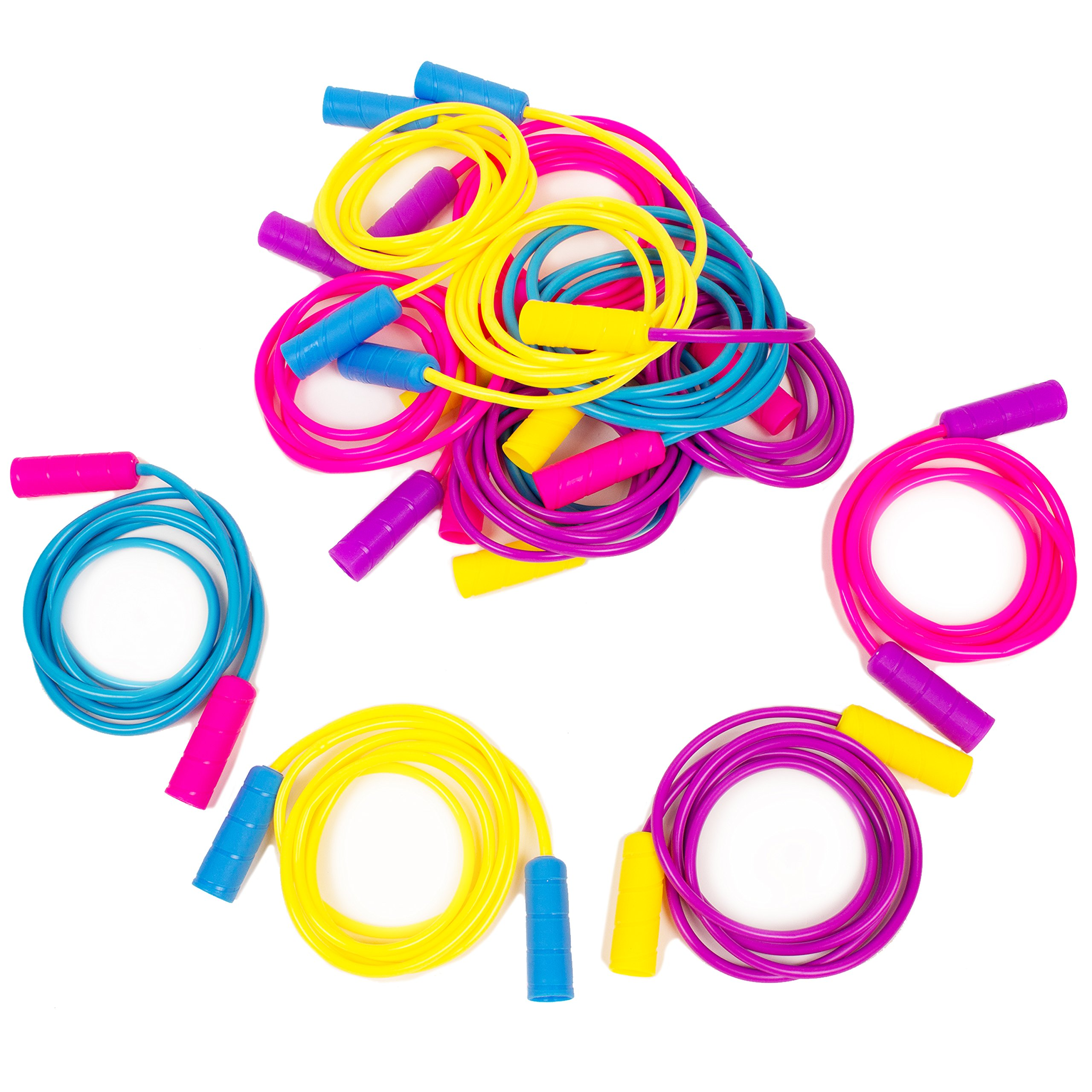 Boley 12 Pack Jump Rope Kids Set - 7 ft Jumping Rope for Boy or Girl Children in Assorted Bright Colors