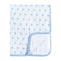 Hudson Baby Unisex Baby Muslin Tranquility Quilt Blanket, Blue Sheep, One Size