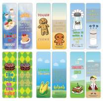 Creanoso Food Idioms Funny Bookmarks Series II (60-Pack) – Idiomatic Expressions Assorted Bulk Pack Set Book Page Clippers –– Employee Incentives Rewards Ideas – Corporate Giveaways – Book Binders