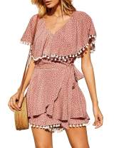 imesrun Womens Summer Rompers Ruffle Sleeve Casual Print Shorts Jumpsuit Outfits with Tassel