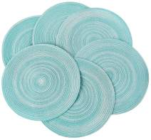 PEKING Round Placemats Set of 8, Cotton Woven Placemat Heat-Resistant Non-Slip Washable Table Mats for Dining Table 15 Inch (Teal, 8PCS)