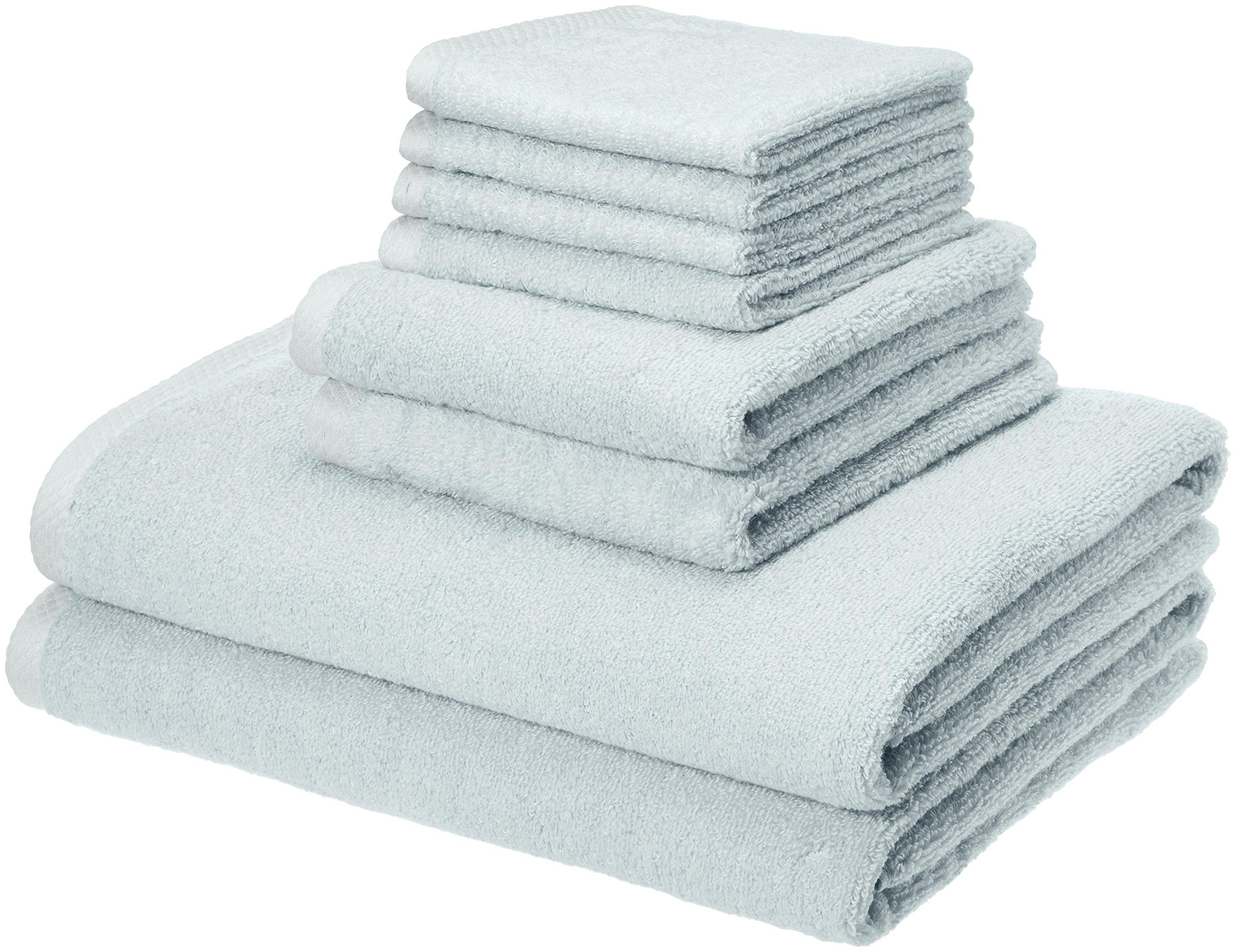 AmazonBasics Quick-Dry, Luxurious, Soft, 100% Cotton Towels, Ice Blue - 8-Piece Set