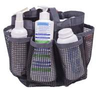 Amelitory Mesh Shower Caddy Portable Quick Dry Shower Tote Bag Hanging Bath Organizers 8 Compartments for Dorm,Bathroom,Gym,Camp,Gray
