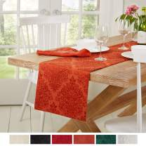 """Town & Country Living Lexington Table Runner 15""""x90"""" Rectangle, Stain Resistant Machine Washable Cotton/Polyester, Damask Rust"""