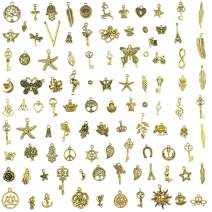 Aokbean Mixed Set of 100pcs Bulk Lots Smooth Metal Charms Pendant Charms in Gold Color for Jewelry Making Necklace Bracelet Making Home Decoration Party Favor