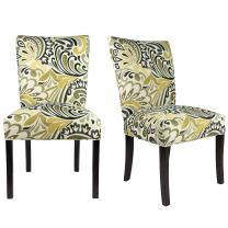 Sole Designs The Julia Collection Contemporary Style Floral Pattern Fabric Upholstered Armless Dining Side Chairs (Set of 2), Gold