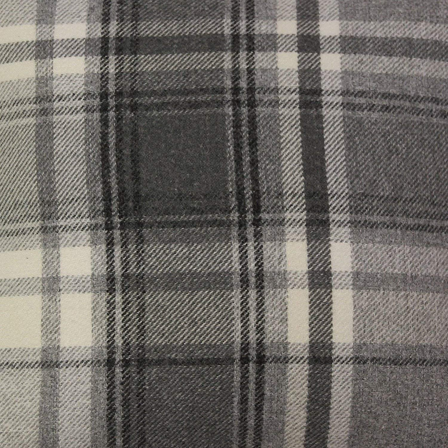 McAlister Textiles Heritage | Charcoal Grey Tartan Check Craft + Upholstery Material Cotton Blend Fabric Roll Art Supplies | Metre - 140cm Wide