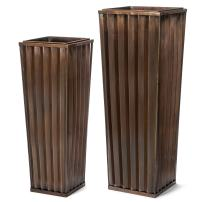 H Potter Tall Outdoor Indoor Planter Patio Deck Flower Ribbed Garden Planters Antique Copper Finish Set of 2