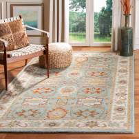 "Safavieh Heritage Collection Handcrafted Traditional Oriental Light Blue and Ivory Wool Area Rug (7'6"" x 9'6"")"