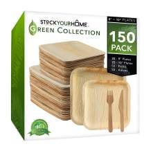 Stock Your Home Compostable Eco Friendly Bamboo Like Palm Leaf Plates and Cutlery Set, 25 Square 10 Inch Plates, 25 Square 8 Inch Plates, 50 Wooden Forks, 50 Wooden Knives, 150 Pieces