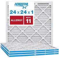 """Aerostar Allergen & Pet Dander 24x24x1 MERV 11 Pleated Air Filter, Made in The USA, (Actual Size: 23 3/4""""x23 3/4""""x3/4""""), 4-Pack"""