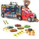 Prextex 21'' Car Carrier Toy Truck with 6 Toy Cars and Accessories - Detachable Toy Vehicle Transporter for Boys and Toddlers