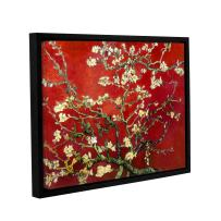 """ArtWall Interpretation in Red Almond Blossom Floater Framed Gallery Wrapped Canvas Art by Vincent Van Gogh-Holds 22.5"""" x 30.5"""" Image, 24x32"""