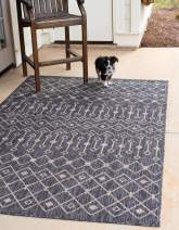 Unique Loom Outdoor Trellis Collection Tribal Geometric Transitional Indoor and Outdoor Flatweave Charcoal Gray Area Rug (5' 0 x 8' 0)