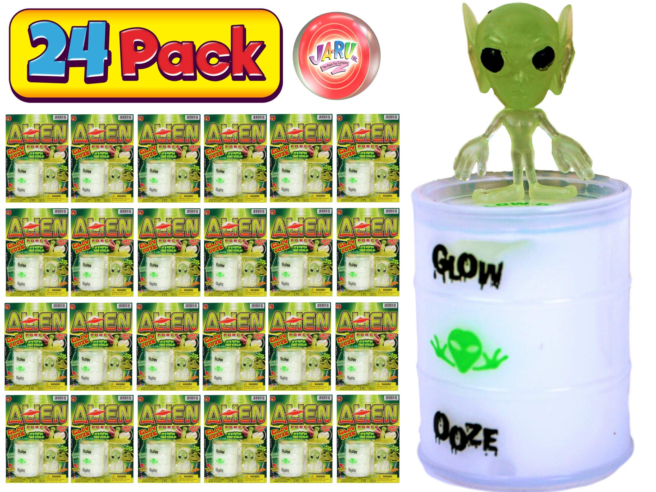 JA-RU Surprise Alien Glow in The Dark Slime Toy (24 Unit Assorted) Ooze Party Favors for Kids Stress Relief Toy. Pinata Filler. Plus 1 Bouncy Ball | 5574-24p