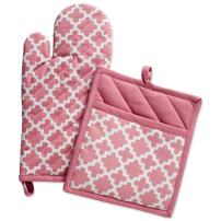 "DII Cotton Lattice Oven Mitt 13 x 7"" and  Pot Holder 9 x 8"" Kitchen Gift Set, Machine Washable and Heat Resistant for Cooking & Baking-Rose Pink"