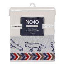 NoJo Teepee Jacquard Knit Blanket, Navy, Red, Ivory