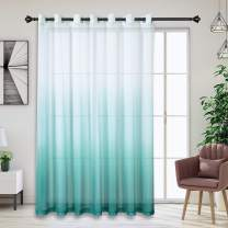 Bermino Faux Linen Ombre Sheer Curtains - Extra Wide Gradient Voile Semi Curtains with 14 Grommets for Sliding Patio Window Door, 100W x 84L Inch Teal, 1 Panel