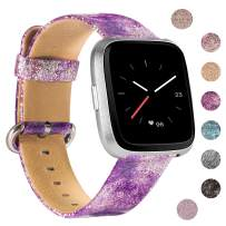 Wearlizer Bling Wide Leather Band Compatible with Fitbit Versa/Versa Lite/Versa SE/Versa 2,Vintage Genuine Soft Replacement Women Gift Large Small Strap