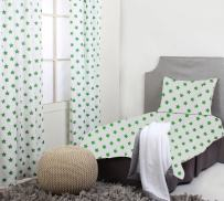 Bacati - Solid Tailored with Pleat Crib/Toddler Bed Skirt (4 pc Toddler Bedding Se, Green)