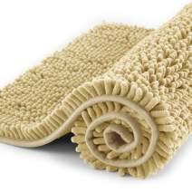 "Subrtex Non-Slip Bath Rugs Bathroom Shower Mat Absorbent Luxury Chenille Plush Doormat(16""x24"",Camel)"