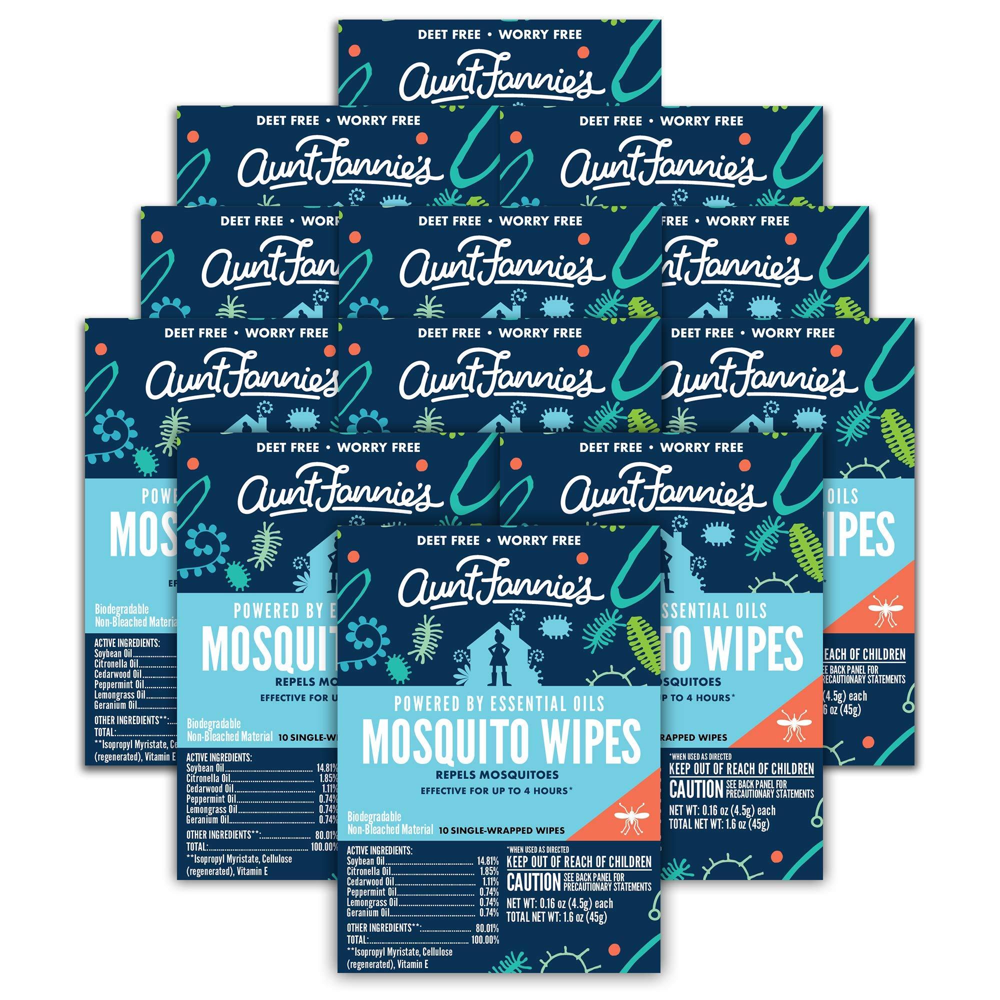 Aunt Fannie's - Mosquito Repellent Wipes - DEET-Free - Indoor/Outdoor Protection (12-Pack)