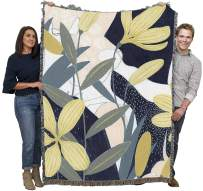 Pure Country Weavers Floral Botanical Blanket Beautiful Flower Design Woven Throw Blanket Large Made in The USA 72x54