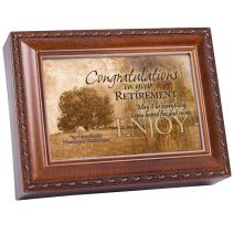 Cottage Garden Congrats Retirement Woodgrain Music Box/Jewelry Box Plays How Great Thou Art