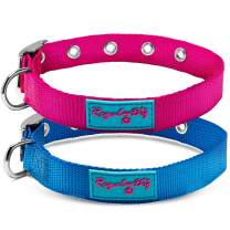 Nylon Dog Collar with Metal Buckle | for Small, Medium, and Large Dogs | Blue and Pink Colors for Male and Female Dogs