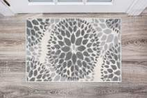 Modern Floral Circles Design Area Rugs 2' X 3' Gray