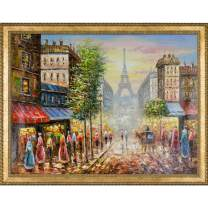 """La Pastiche Tower Framed Hand Painted Oil on Canvas, 44.75"""" x 34.75"""""""