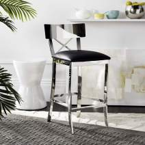 Safavieh American Home Collection Zoey Glam Black and Stainless Steel Cross Back 35-inch Counter Stool