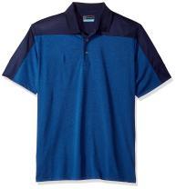 PGA TOUR Men's Short Sleeve Heathered Color Block Polo Shirt