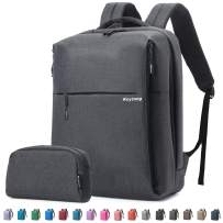 Travel Laptop Business Backpack, Anti Theft Water Resistant School Computer Bagpack Gifts for Men & Women,Fits 15.6 Inch Notebook with USB Charging Port Bonus a Small pencil Case, Smoke gray