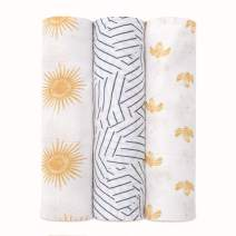 aden + anais Silky Soft Swaddle Blanket, 100% Bamboo Viscose Muslin Blankets for Girls & Boys, Baby Receiving Swaddles, Ideal Newborn & Infant Swaddling Set, 3 Pack, Golden Sun