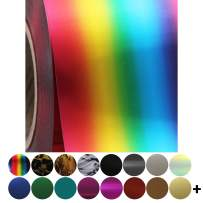 """Threadart Rainbow Metallic Foil 20"""" Wide Heat Transfer Vinyl Film HTV   By the Yard   Use with Silhouette, etc   Available in Over 30 Colors"""