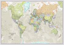 World Map Classic Style - Front Sheet Lamination - Cartographic Detail (A0 33 (h) x 47 (w) inches)