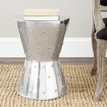 Safavieh Home Rivet Silver Aluminum Stool