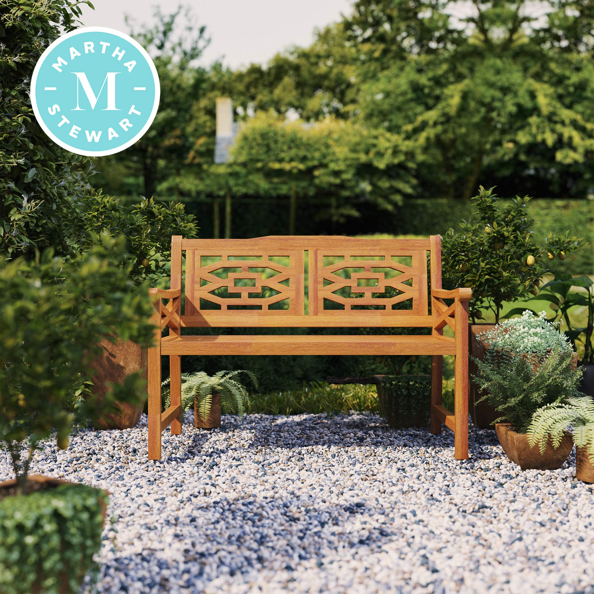 Martha Stewart Beeches 48 Bench, with Natural Wood Look Finish
