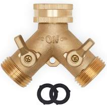 Morvat Heavy Duty Brass Garden Hose Connector Tap Splitter (2 Way) – New and Improved - Outlet Splitter, Hose Splitter, Hose Spigot Adapter with 2 Valves, Plus 2 Extra Rubber Washers