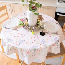 """AHOLTA DESIGN Summer Floral Coloring Easter Tablecloth Non-Iron Stain Resistant Spring Table Cover Perfect for Easter Kitchen Indoor Dining Room Outdoor Easter Decorations (Ecru Easter2, Round 70"""")"""