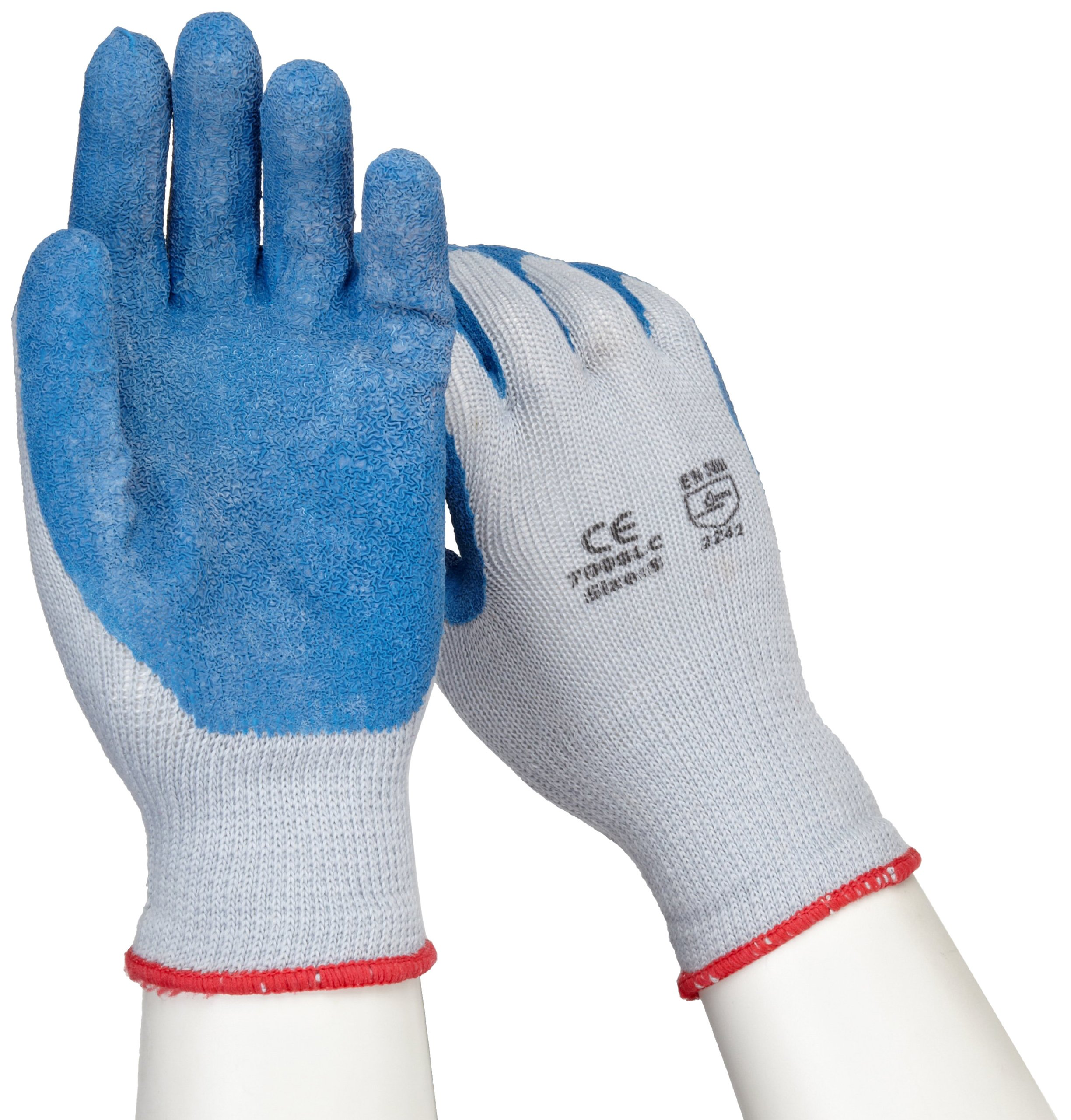 West Chester 700SLC Cotton Polyester Gloves-Small, Blue/Gray, 10 Gauge Knit Shell and Heavy Latex